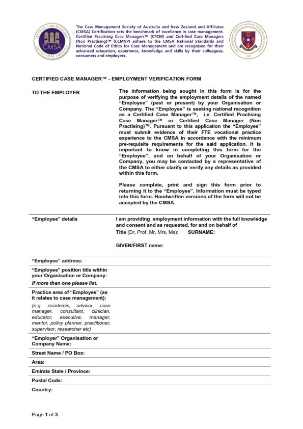Employee Declaration Form | How To Complete The Ccm Forms Case Management Society Of Australia